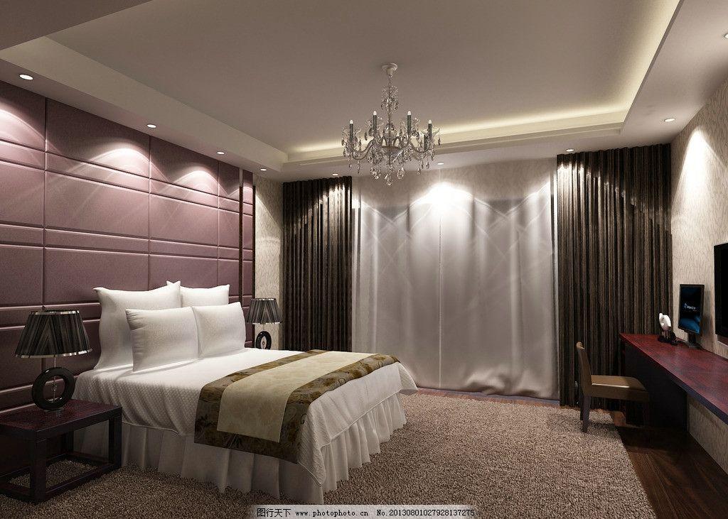 紫色卧室 现代 紫色      房间 床 吊灯 室内设计 环境设计 设计 300