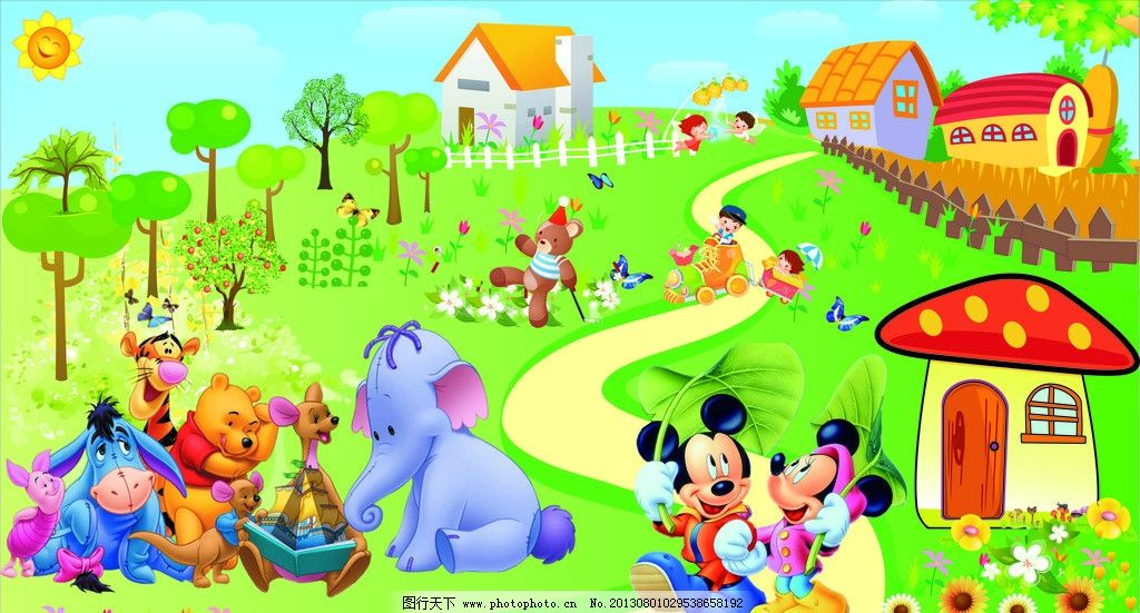 幼儿园背景 可爱小动物 卡通小房子 磨菇房子 卡通动物园 幼儿园宣传