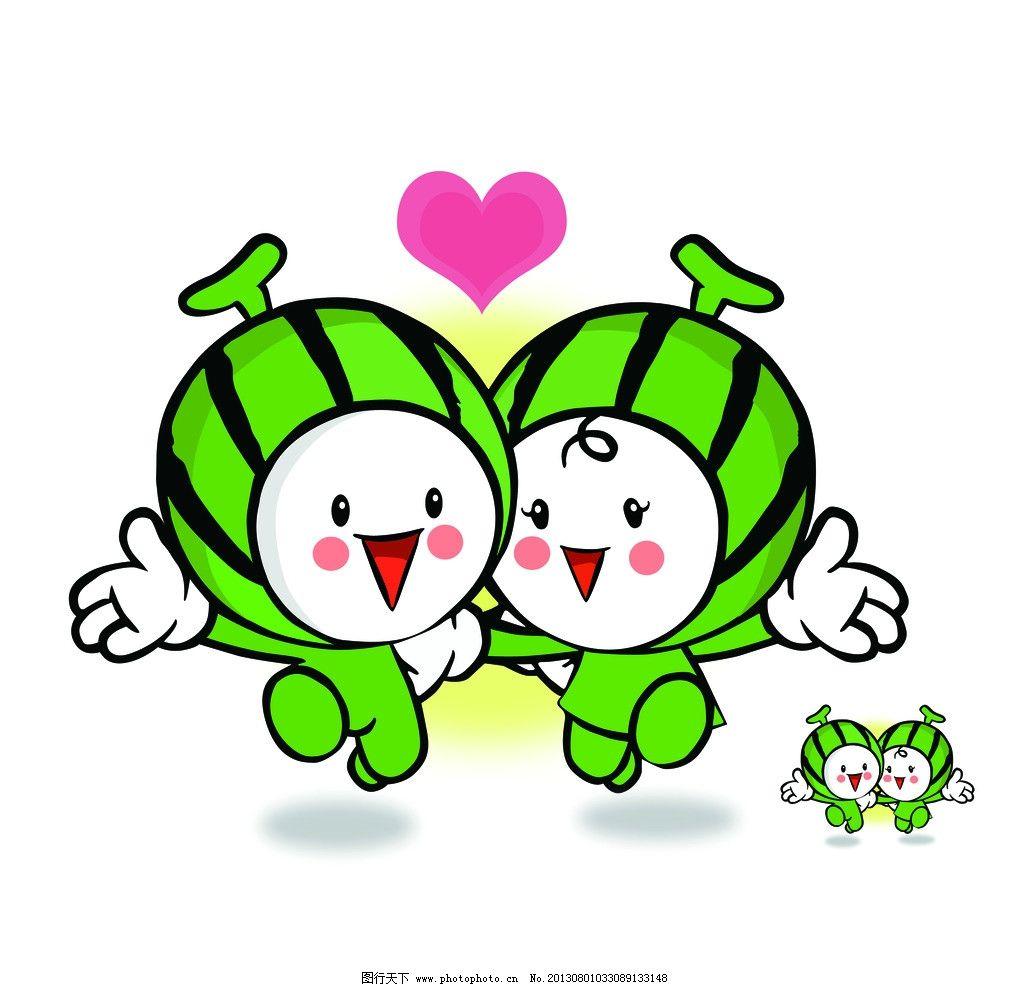 西瓜情侣 分层 人物 夏季 手牵手 心 西瓜太郎 开心 幸福 可爱