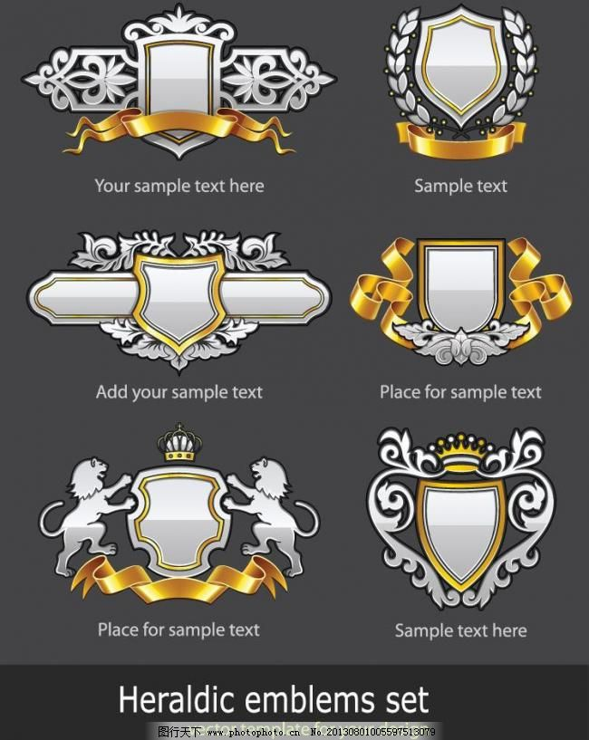 盾牌丝带皇冠欧式花纹图片,标识标志图标 古典 怪物