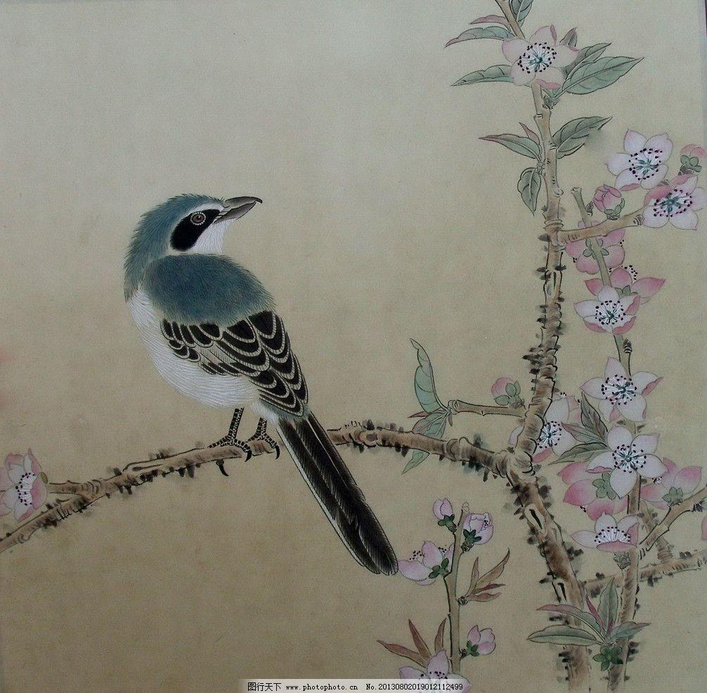 回眸 工笔画 水墨画 小鸟 桃花 植物 绘画书法 文化艺术 设计 72dpi
