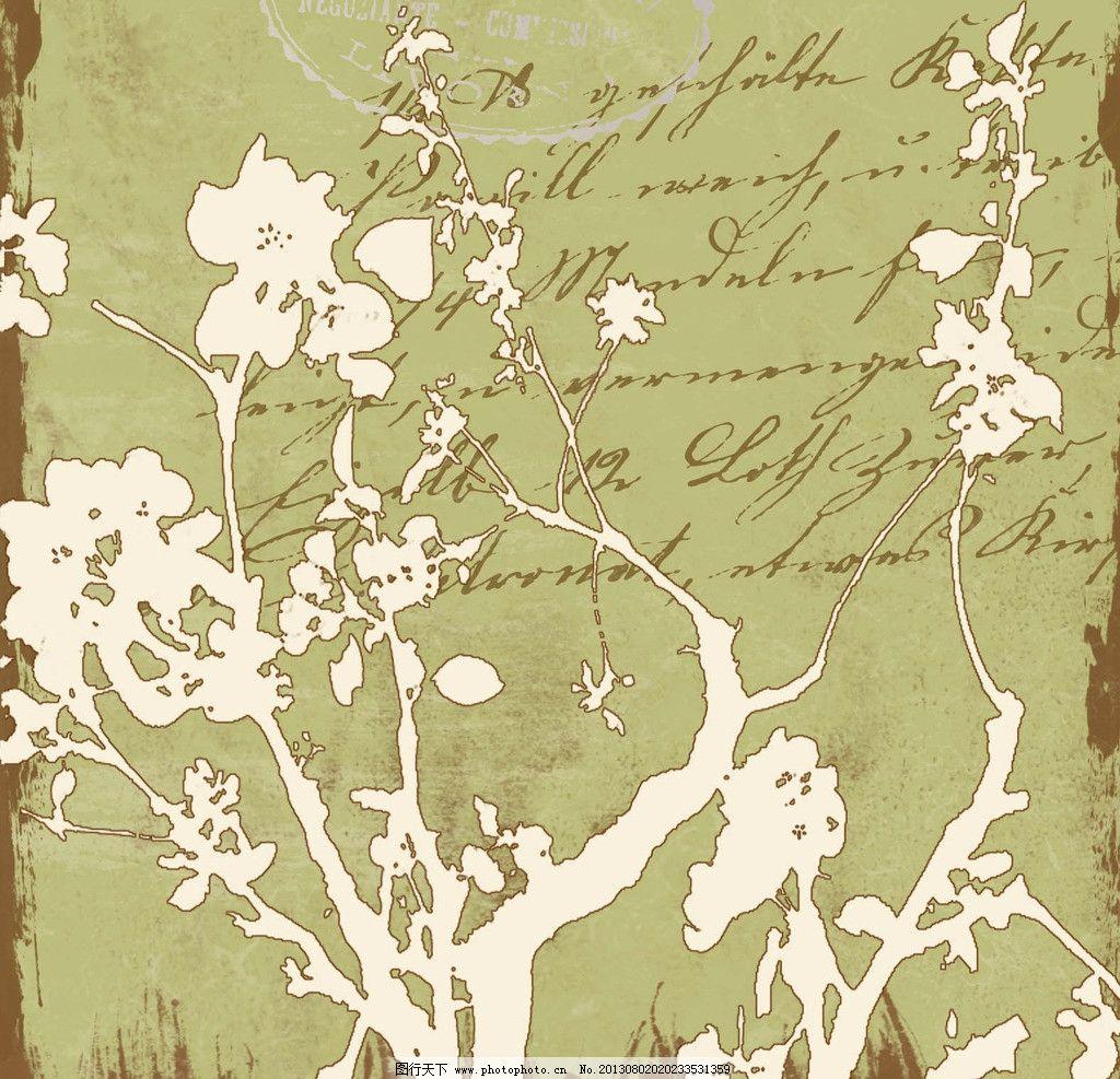 复古树枝背景 树枝 欧美 英文画 高清 背景 花纹 底纹 背景底纹 底纹
