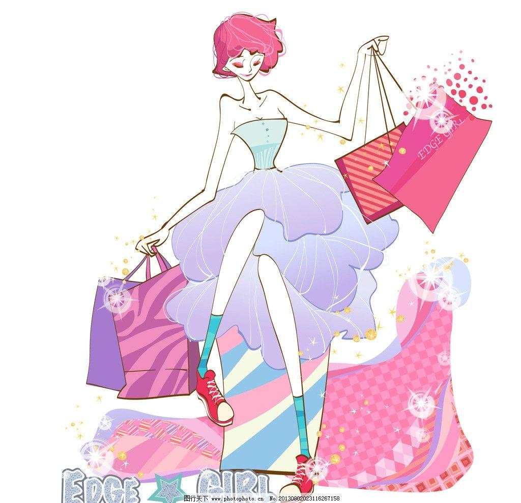 韩国手绘购物美女图片_生活人物_人物图库_图行天下