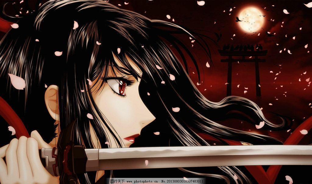 动漫美女 武士 月亮 刀 花瓣 手绘美女 动漫壁纸 宽屏壁纸 动漫动画
