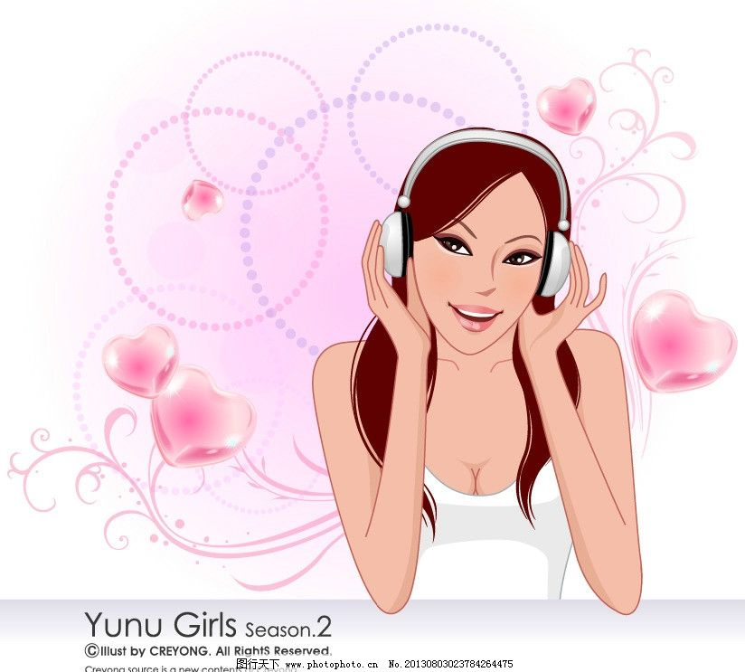 女人 性感女人 听音乐的女孩 卡通人物 时尚女人 插画 韩国卡通 高跟图片