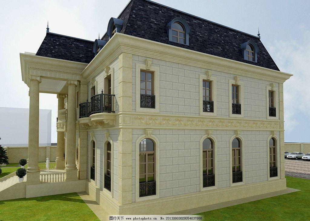 别墅 建筑 立体 窗户 绿草地 围栏 建筑设计 环境设计 设计 300dpi jp