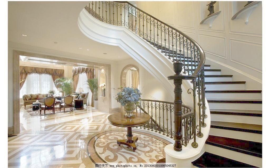 欧式弧形楼梯 铁艺 护栏图片