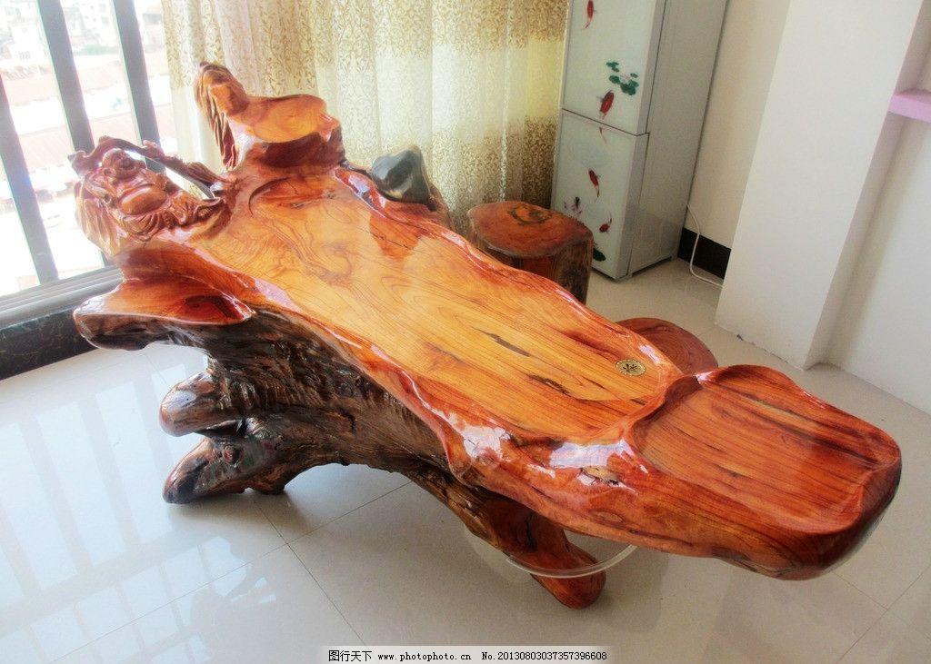 厚木板雕刻茶几图片
