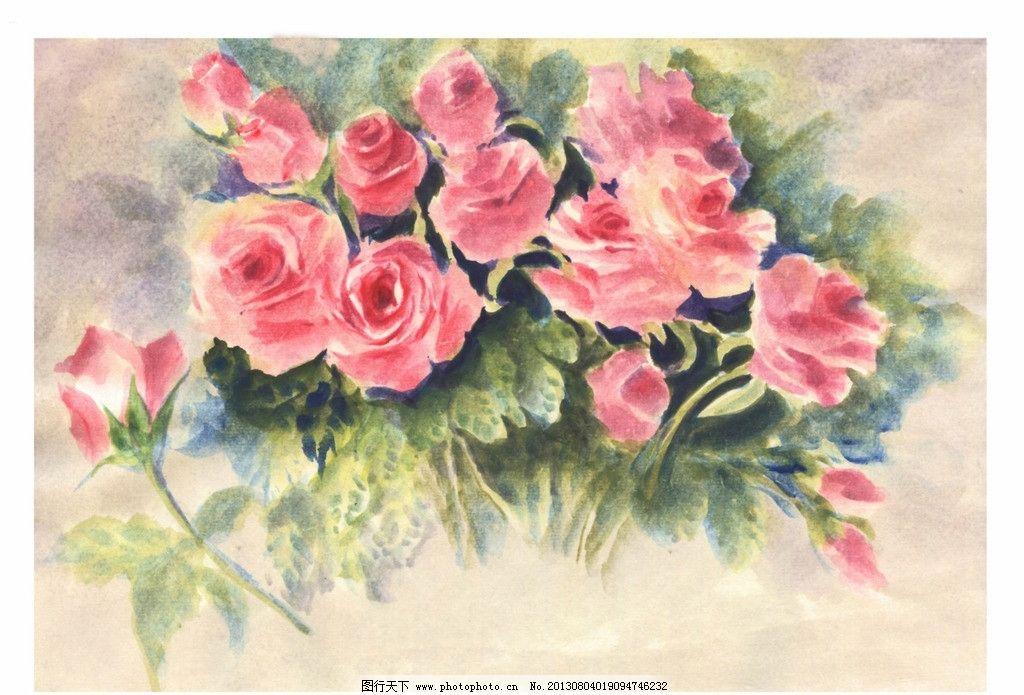 水彩画红玫瑰 水彩画 红色 玫瑰 原创 手绘 素材 原创水彩画花卉 绘画