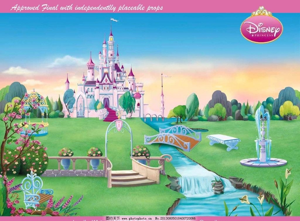城堡 公主 迪士尼 梦幻 小桥 流水 花草 风景 夕阳 风景漫画 动漫动画