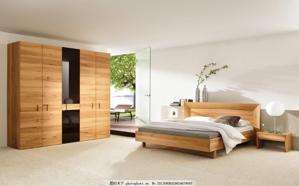 室内设计 床 柜子 白色