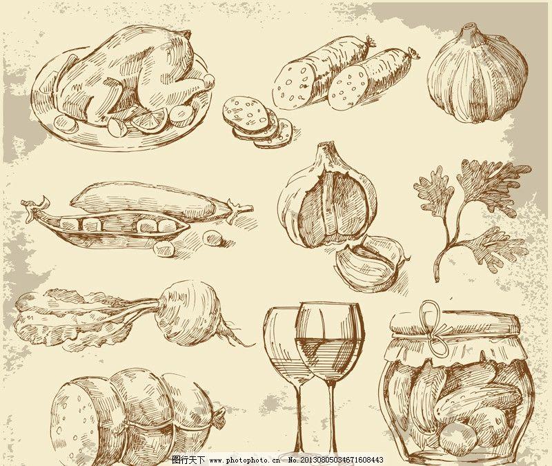 手绘 蔬菜 餐具 复古 怀旧 素描 矢量 素描画钢笔画矢量 eps 餐饮美食
