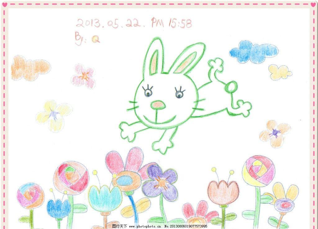 手绘兔子花朵 彩色 云朵 卡通 舞蹈音乐 文化艺术