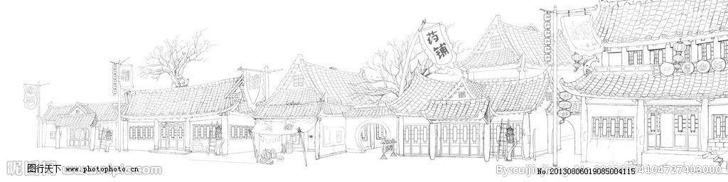 白描古建筑图片