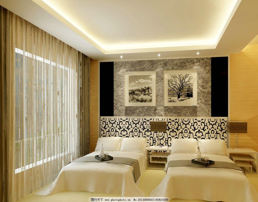 卧室效果图 床 窗帘 射灯 挂画 窗户