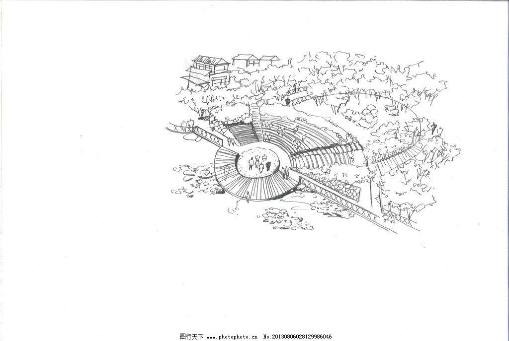 公园水岸广场鸟瞰手绘图片