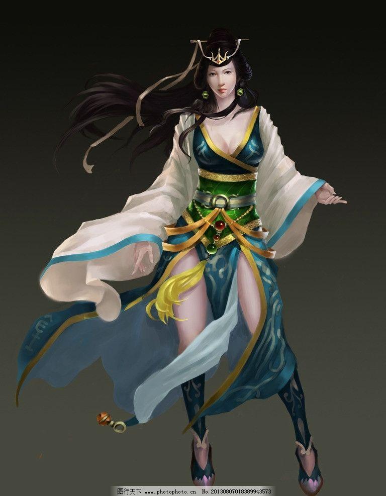 游戏原画 游戏人物 网游人物 手绘美女 绿衣女 武侠 动漫动画