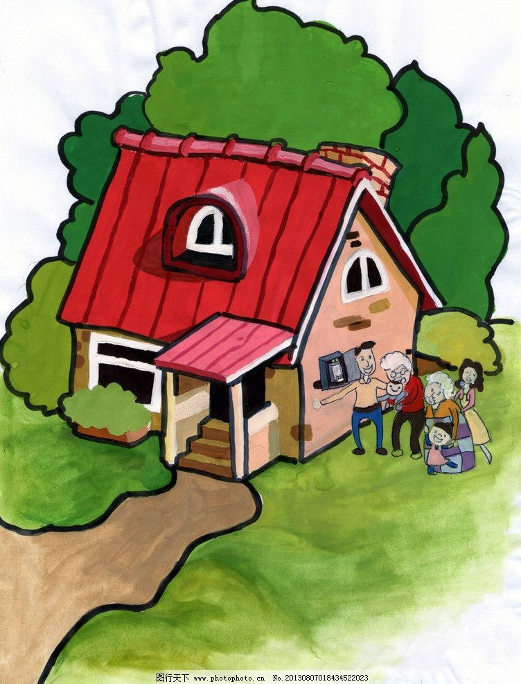 儿童风景画 卡通画 漫画 儿童手绘图 房子 家 风景漫画 动漫动画 设计