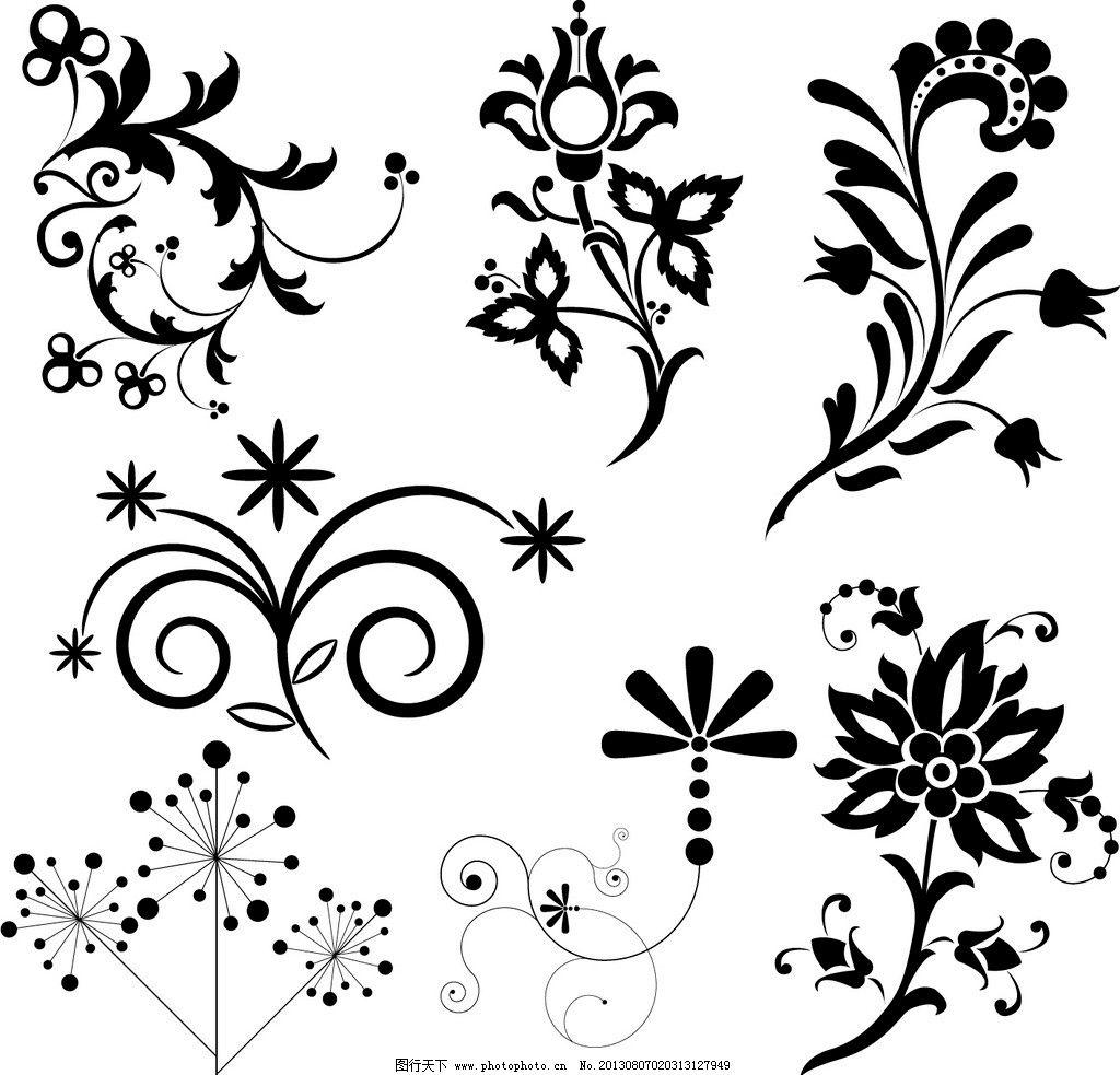花纹花卉 黑白花卉 欧式花纹花卉 花藤 时尚花纹 花边花纹 底纹边框