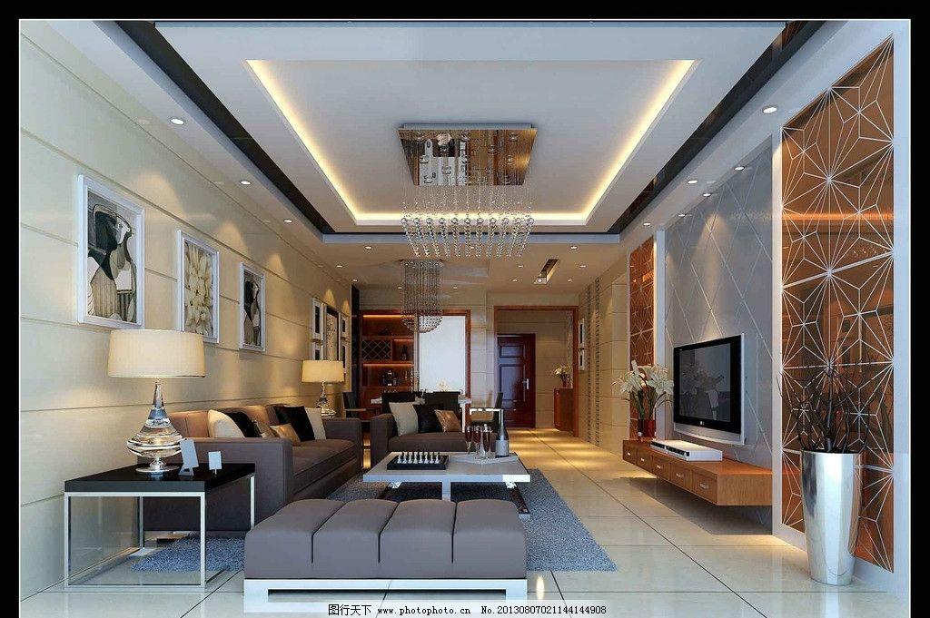 客厅 卧室效果图素材下载 窗花背景 木地板 沙发 欧式吊灯
