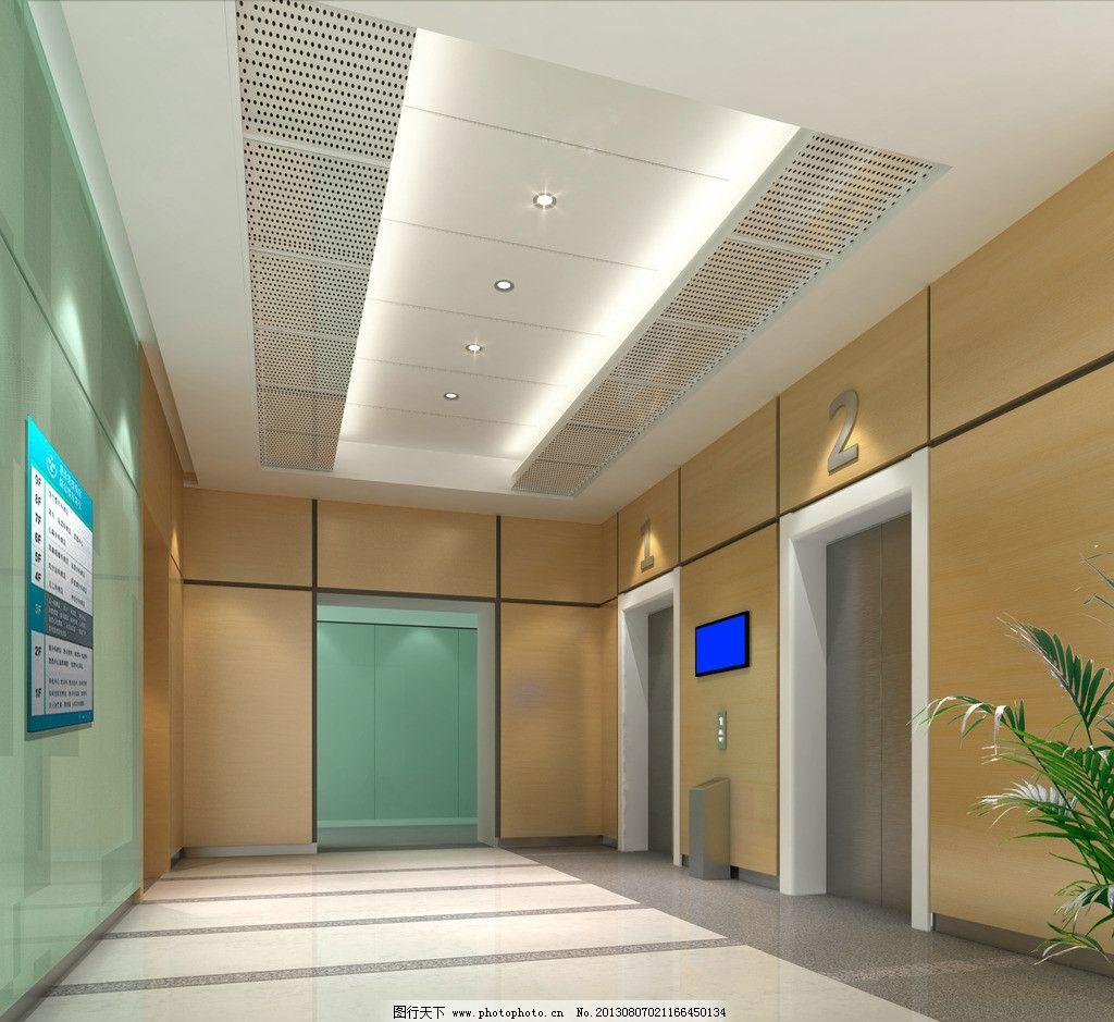 電梯廳效果圖 電梯廳 醫院        木飾面 玻璃 植物 3d作品 3d設計