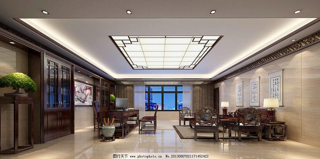 室内效果图 中式 沙发 灯光 窗户 3d作品 3d设计 设计 72dpi jpg