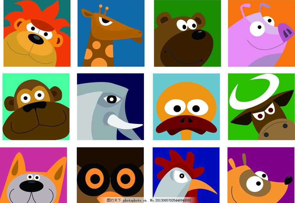 卡通动物 卡通动物画 动漫人物 卡通画 动物画 狮子 长颈鹿 小熊 小猪