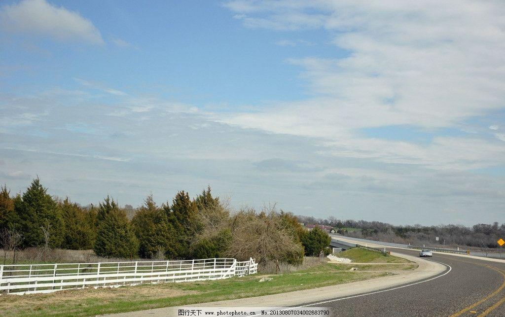 美国公路美景 美国 公路 蓝天 白云 汽车 绿树 国外旅游 旅游摄影