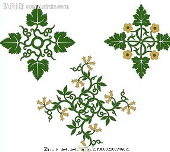 葡萄藤蔓花纹 植物 花朵 叶子 绿色 窗花 底纹 纹理 壁纸 墙帖