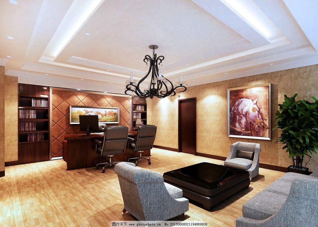 总经理办公室 欧式风格 总经理 老板 办公室 简欧 壁纸 木地板 暖色