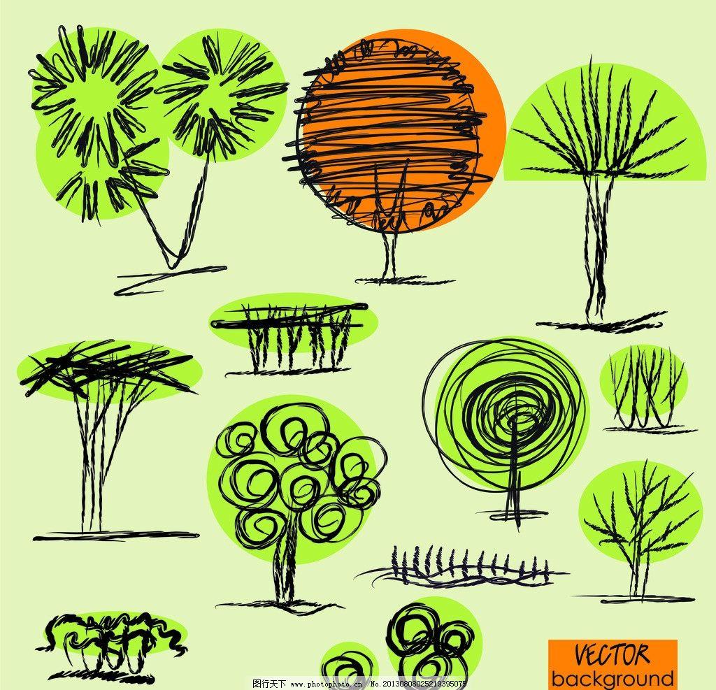 手绘树木图片图片
