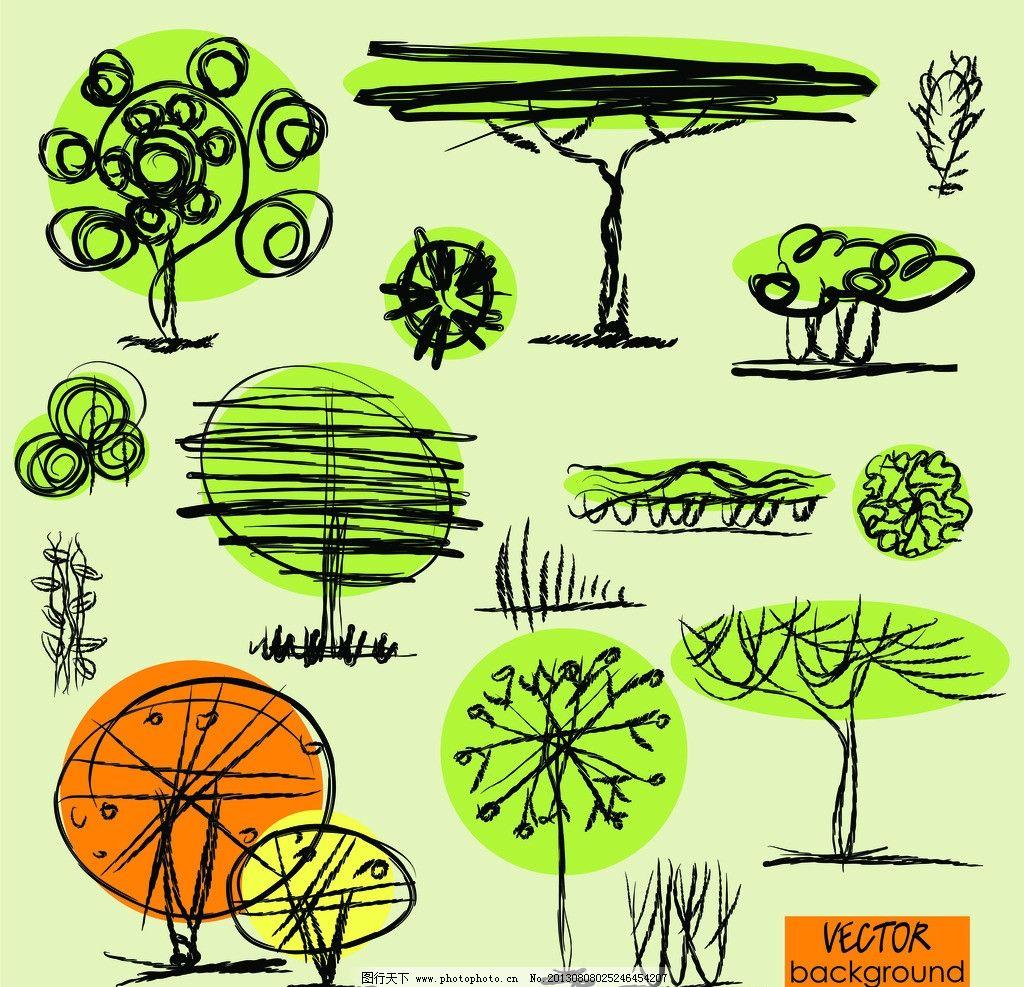 手绘树木 线描 树木 矢量树木 绿色树木 卡通树木 植物 树木树叶 生物