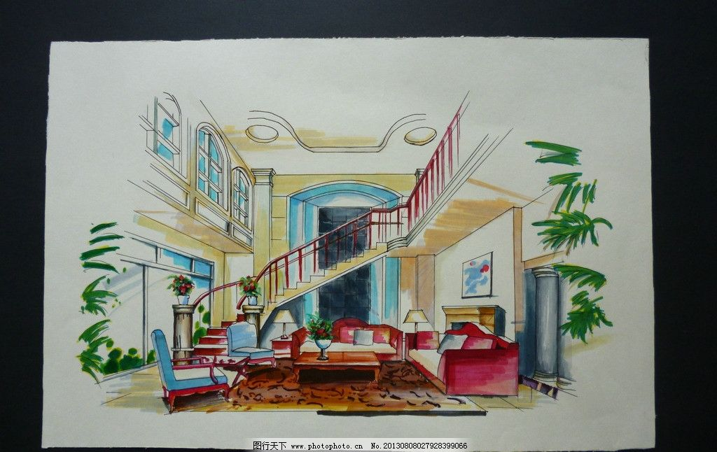 室内手绘图 手绘 马克笔 室内 设计 绘画 沙发 地毯 室内设计 环境