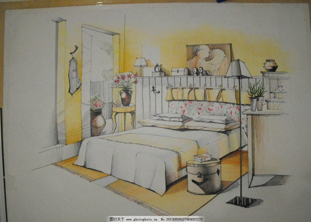 手绘室内效果图 手绘 室内        彩铅 黄色      床 室内设计 环境