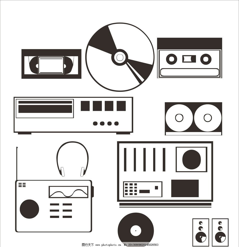 音响 录音带 录像带 耳机 低音炮 收音机 cdr 大全 其他 标识标志图标