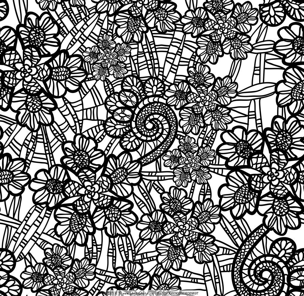 欧式花纹背景 手绘花纹 黑白花纹 复古花边 古典花纹底纹矢量素材