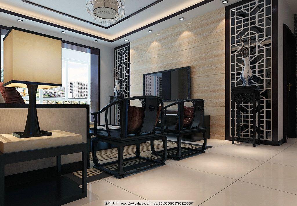中式效果图 客厅