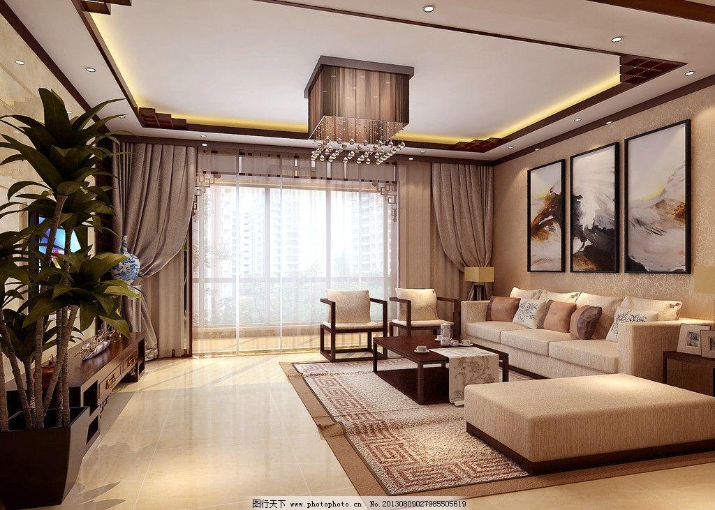 新中式客厅效果图 中式        沙发      窗户 植物 室内设计 环境