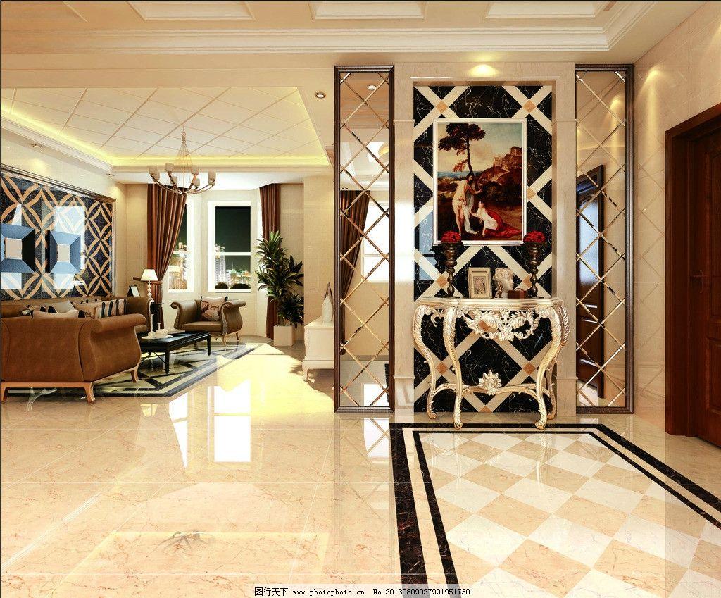 室内效果图 客厅效果图 走廊 窗帘 沙发 瓷砖 隔断 室内设计 环境设计