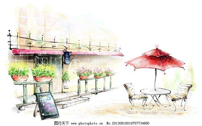 韩风手绘水彩插画街景咖啡厅