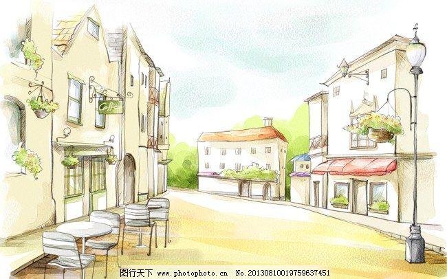 韩风手绘水彩插画欧式街景
