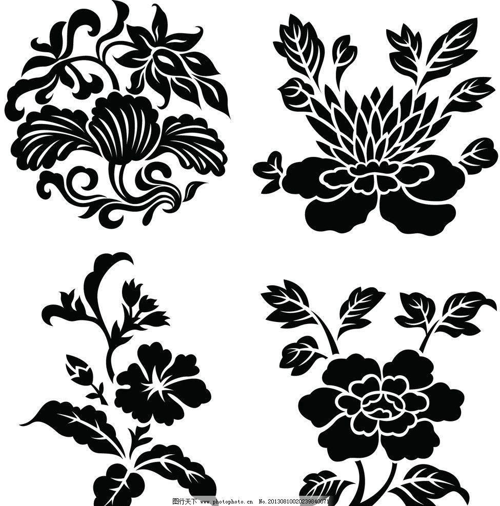 手绘花卉 矢量花纹 黑白花卉 矢量花纹边框 手绘花朵 矢量素材