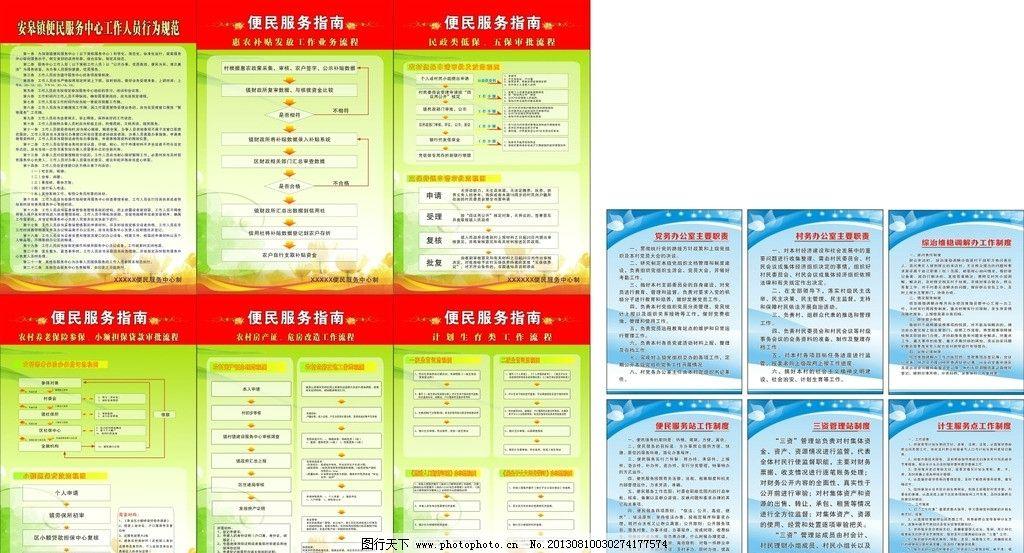 便民服务中心 便民服务大厅 流程图 管理制度 流程 展板模板 广告设计