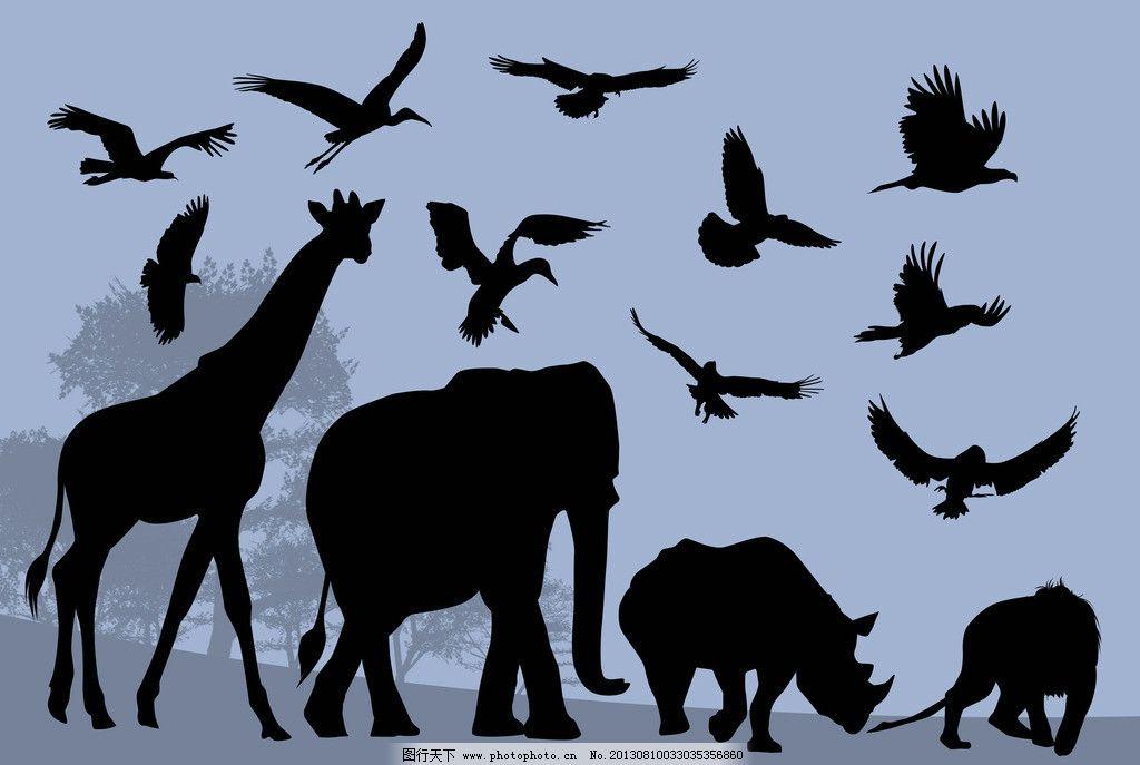 动物剪影 犀牛 大象 长颈鹿