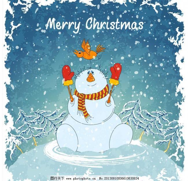 手绘雪人 圣诞节背景