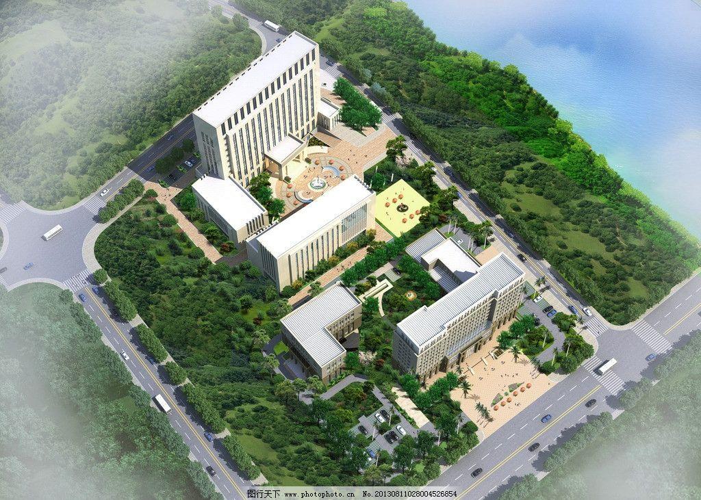 建筑效果图 样本 鸟瞰 绿化带 树木 街道
