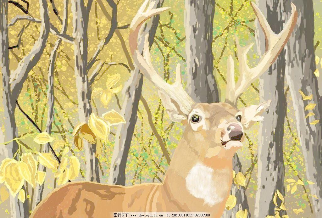 水彩画 鹿设计素材 鹿模板下载 鹿 风景画 树 秋天 风景 野生保护动物