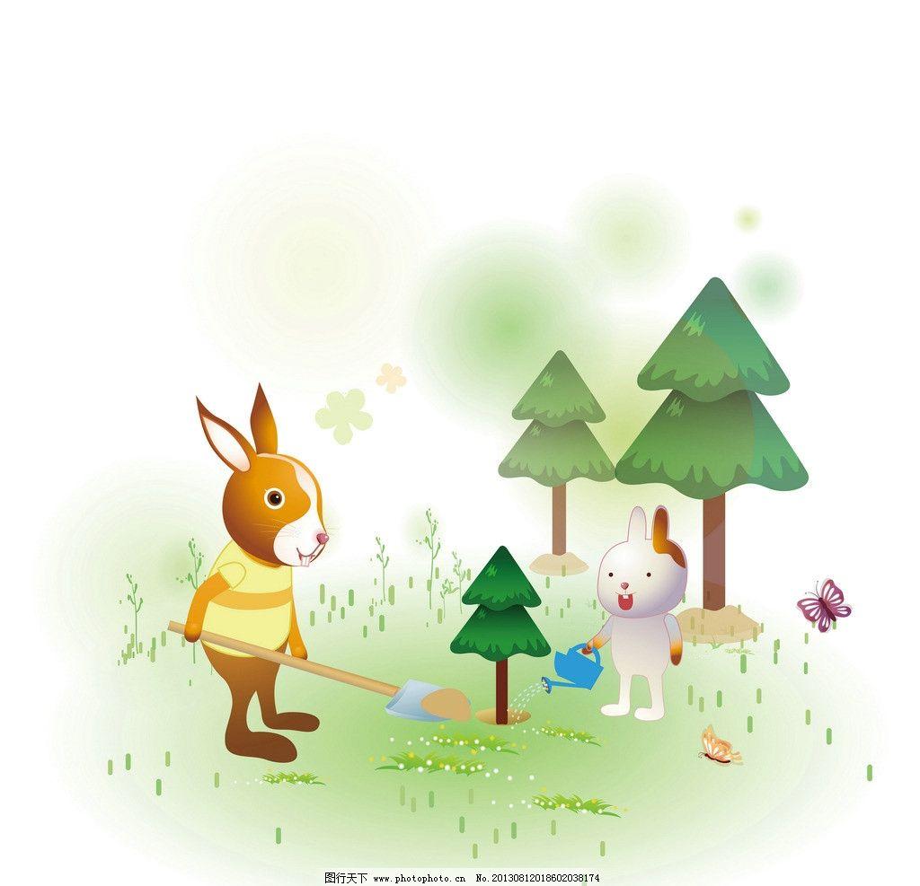 动物 可爱 兔子 漫画 卡通 插画 植树 种树 植树节 其他 动漫动画