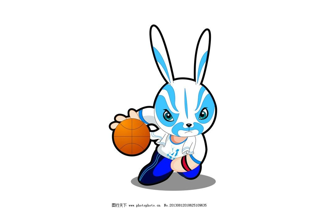 可爱 兔子 漫画 卡通 插画 京剧 京戏 花纹篮球 运动 其他 动漫动画