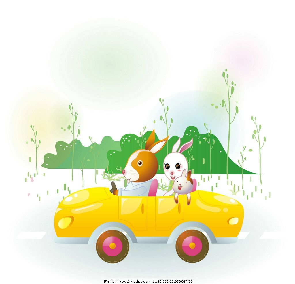卡通兔 小动物 动物 可爱 兔子 漫画 卡通 插画 汽车 其他 动漫动画